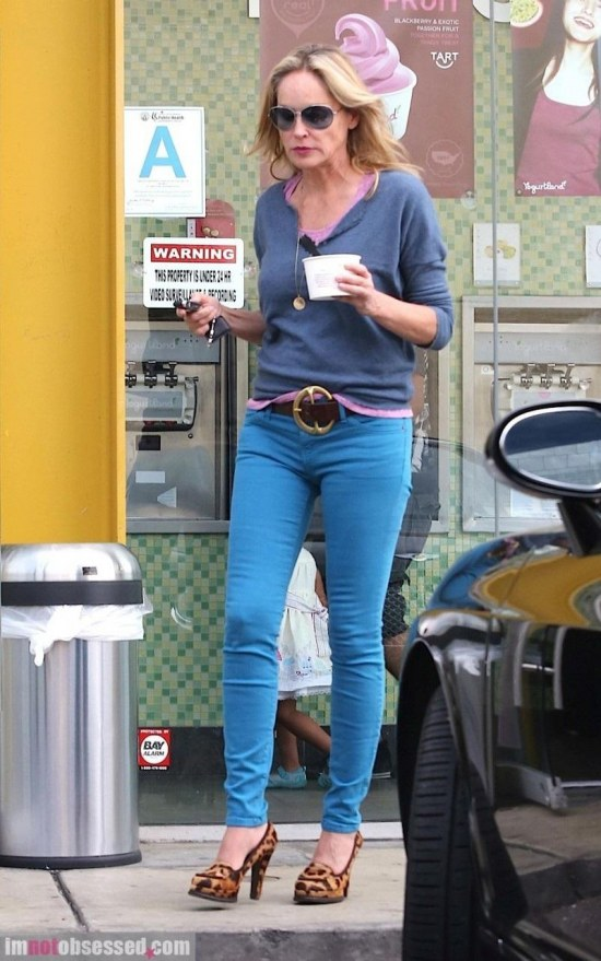 Sharon Stone Grabs Some Froyo To Go Pictures