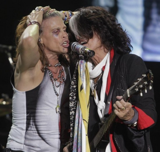 Steven Tyler And Joe Perry Of Aerosmith Perform During Concert On On Stage
