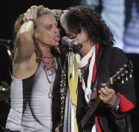 Steven Tyler And Joe Perry Of Aerosmith Perform During Concert On Young