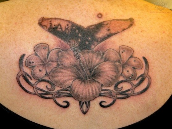 Whale Tail Flower Tattoo
