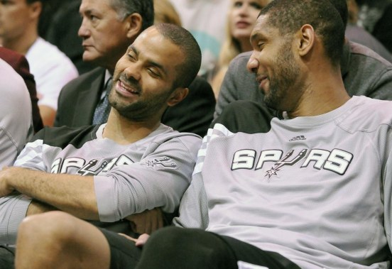 San Antonio Spurs Point Guard Tony Parker And Center Tim Duncan Talk On The Bench During The Second Half Of Their Nba Basketball Game Against The Utah Jazz In Salt Lake City Utah Wife