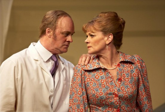 Tim Mcinnerny As Dr Prentice Samantha Bond As Mrs Prentice In What The Butler Saw Credit Simon Annand