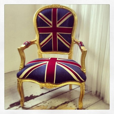 Original Vintage Style Union Jack Throne Chair Ack