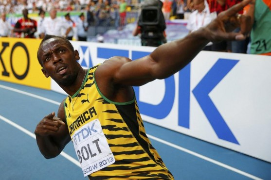 Usain Bolt Of Jamaica Celebrates Winning The Mens Final During The Iaaf World Athletics Championships