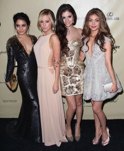 Vanessa Hudgens Selena Gomez Sarah Hyland And Ashley Tisdale At Weistein Company Golden Globes Party In Beverly Hills And Selena Gomez