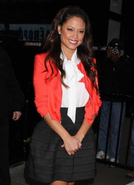 Vanessa Minnillo Outside Good Morning America Wearing Black Skirt White Shirt Orange Jacket Vanessa Minnillo Outside Good Morning America Hot