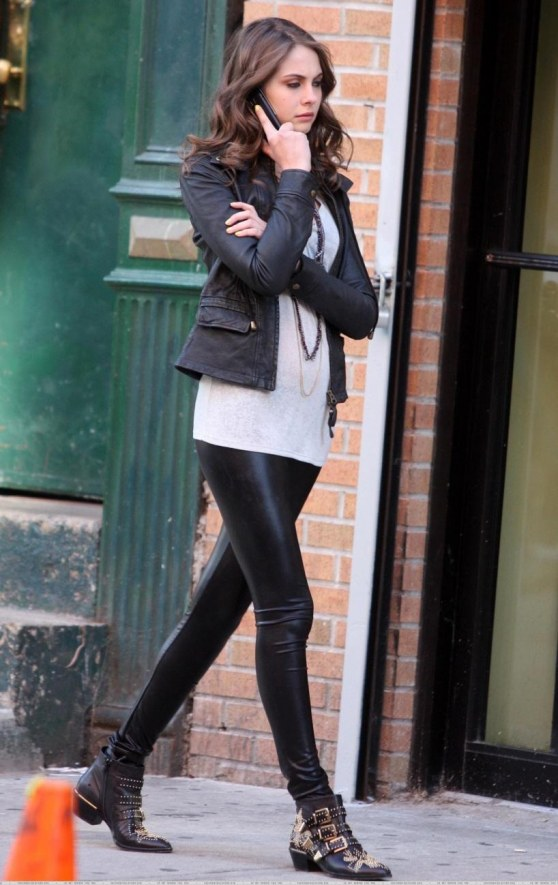 Willa Holland In Leather Leggings Leather